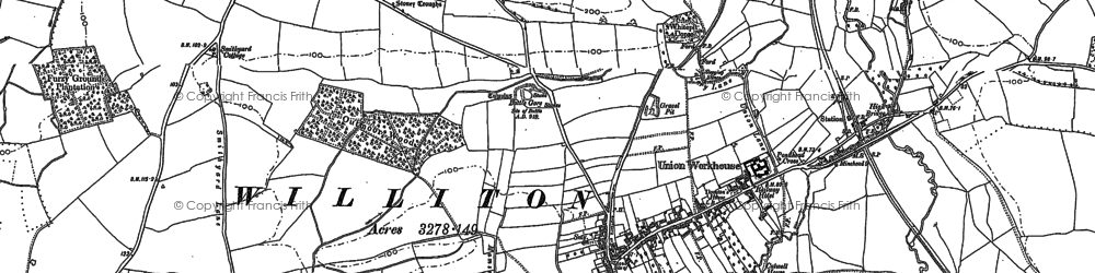 Old map of Williton in 1887