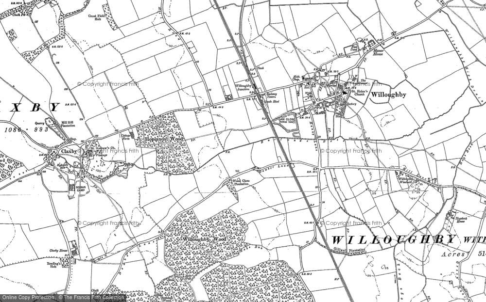 Old Map of Willoughby, 1887 in 1887