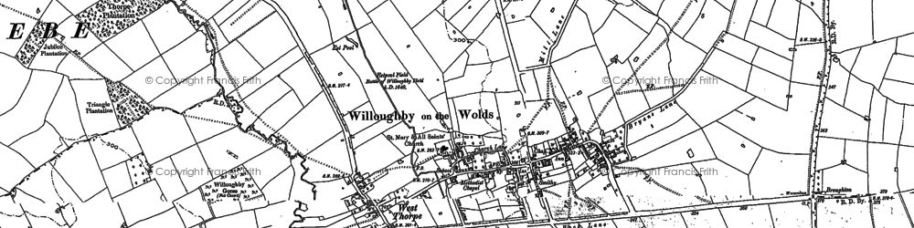 Old map of Willoughby-on-the-Wolds in 1883