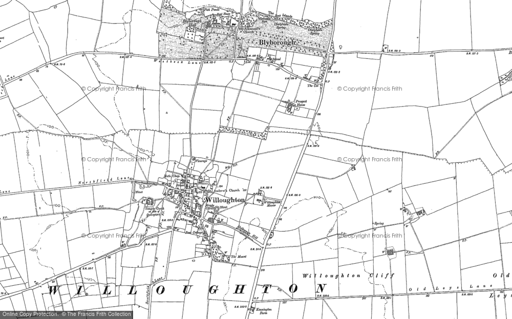 Old Map of Historic Map covering Willoughton Cliff in 1885