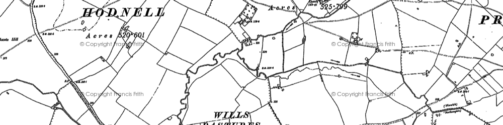 Old map of Wills Pastures in 1885
