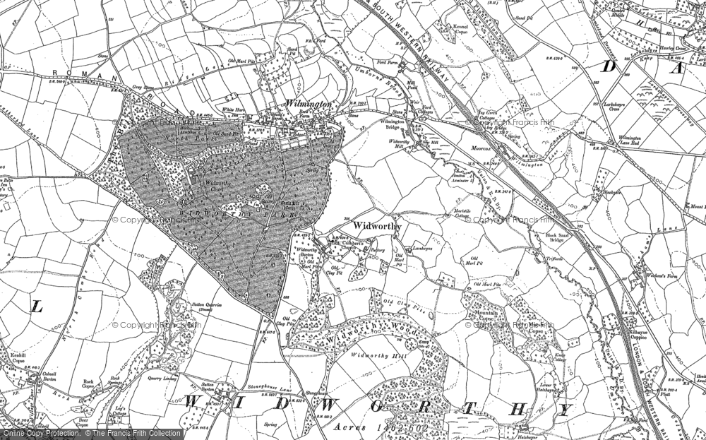 Old Map of Historic Map covering Wylmington Hayes in 1888