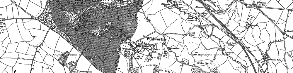 Old map of Widworthy Court in 1888