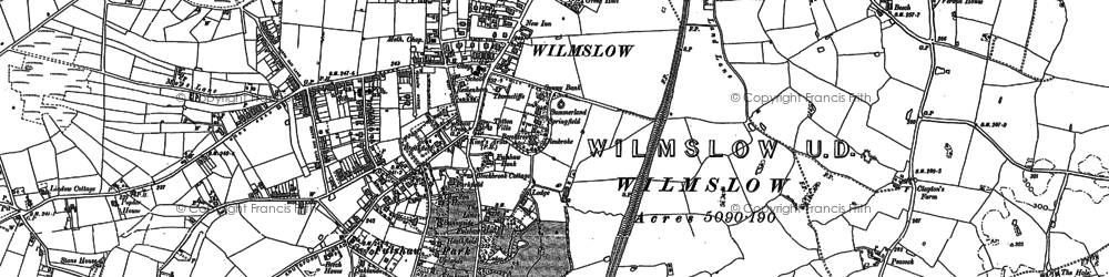 Old map of Wilmslow Park in 1897