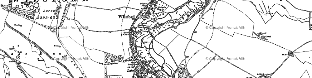 Old map of Wilsford in 1889