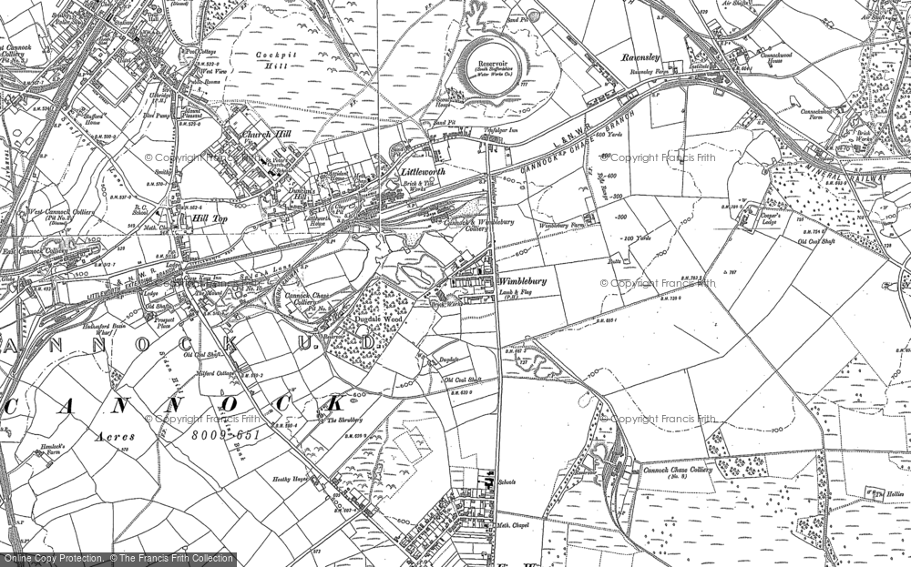 Old Map of Wimblebury, 1883 in 1883