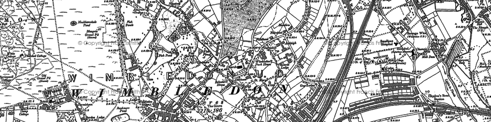 Old map of Wimbledon Common in 1894