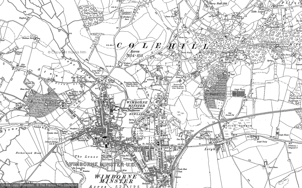 Old Map of Wimborne Minster, 1887 - 1900 in 1887