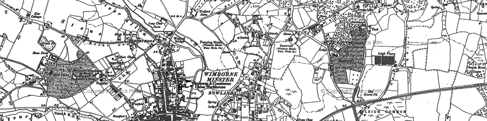 Old map of Wimborne Minster in 1887