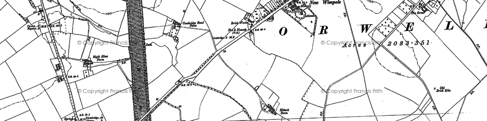 Old map of Wimpole in 1886