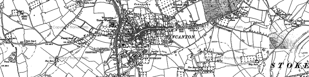 Old map of Wincanton in 1885