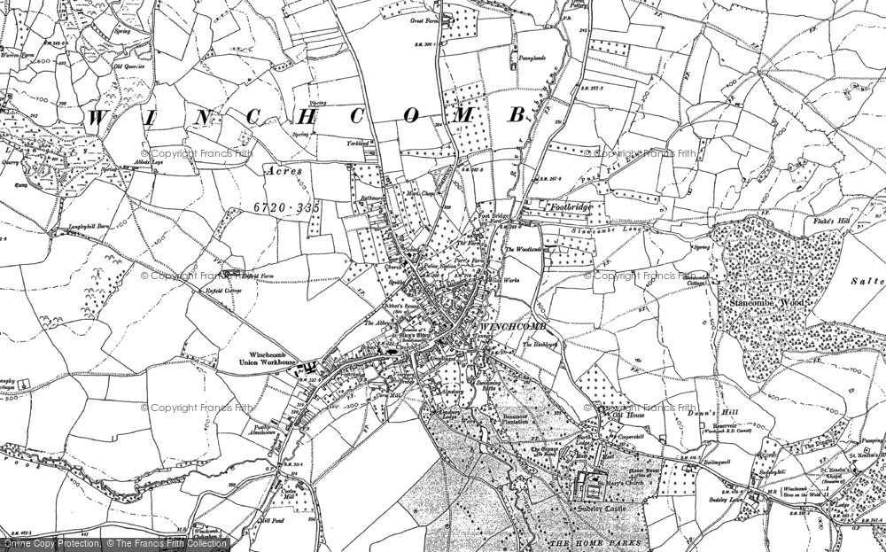 Old Map of Winchcombe, 1883 in 1883