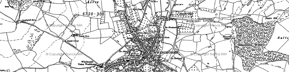 Old map of Winchcombe in 1883