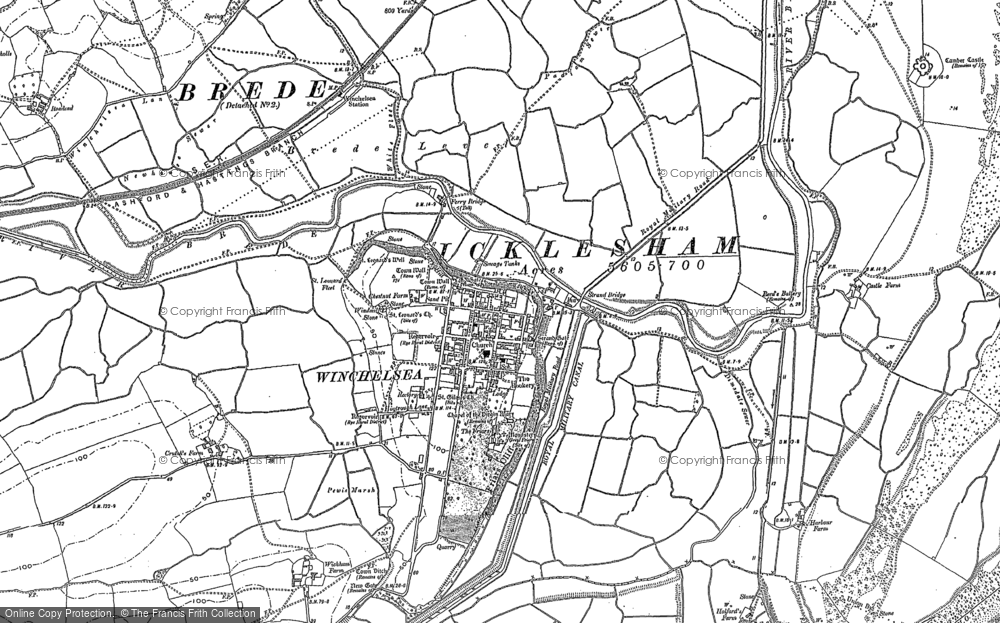 Old Map of Winchelsea, 1907 - 1908 in 1907
