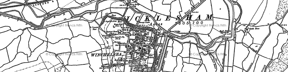 Old map of Winchelsea in 1907