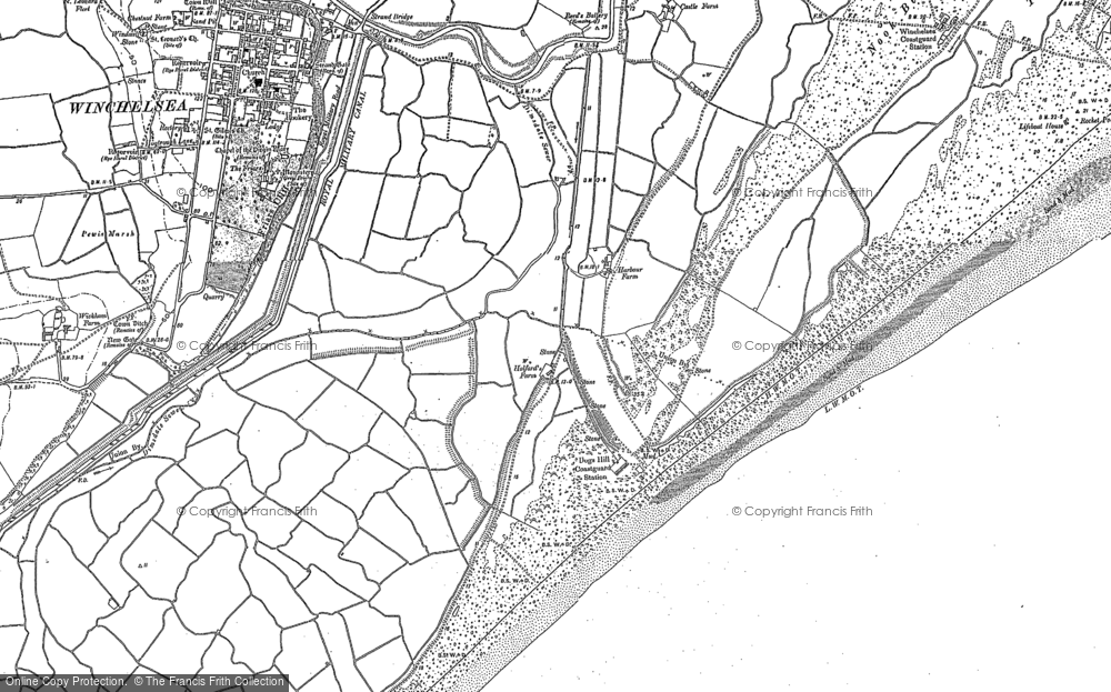 Old Map of Winchelsea Beach, 1907 - 1908 in 1907