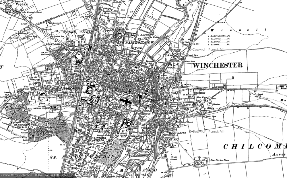 Old Map of Winchester, 1895 in 1895