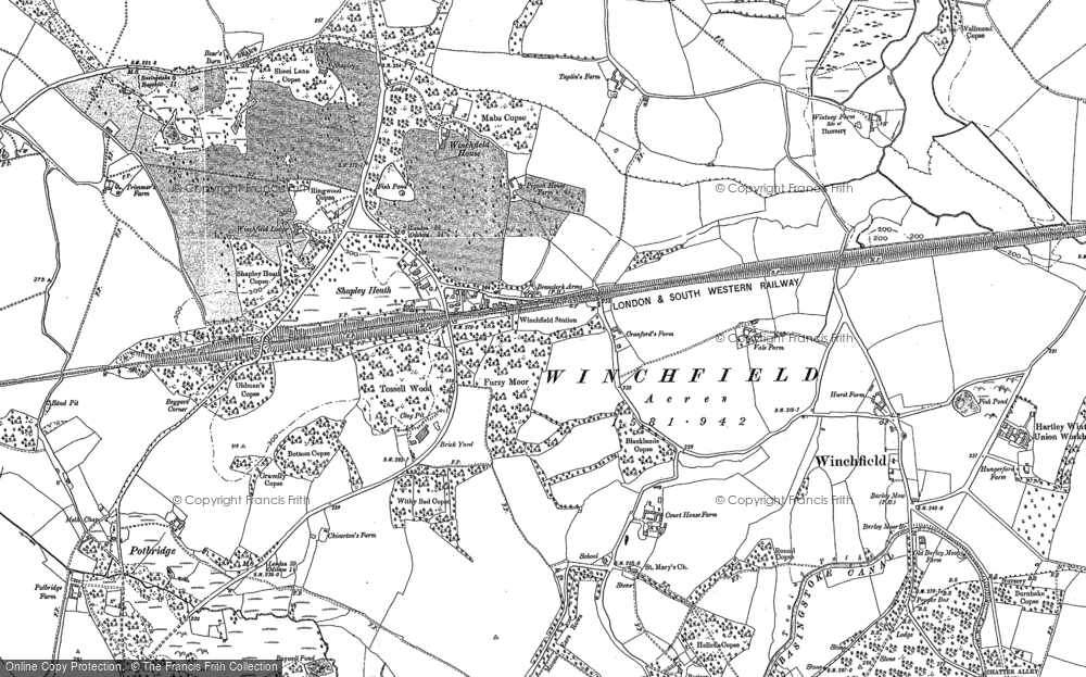 Old Map of Winchfield, 1909 in 1909