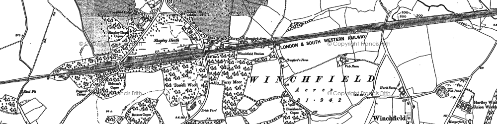 Old map of Winchfield in 1909