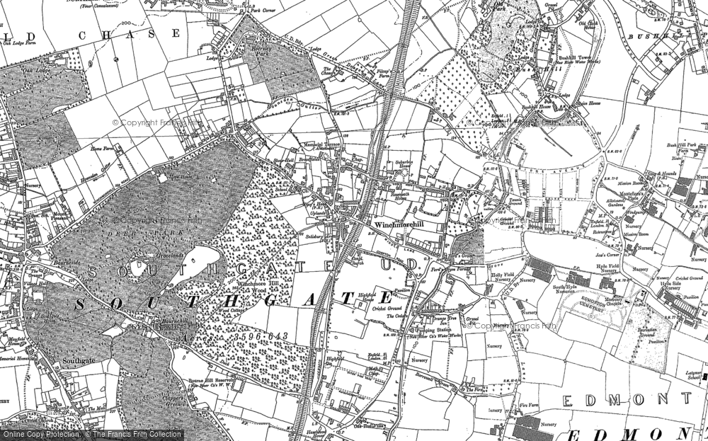 Map of Winchmore Hill, 1895 - 1914