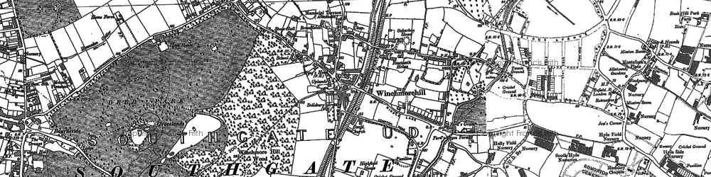 Old map of Winchmore Hill in 1895