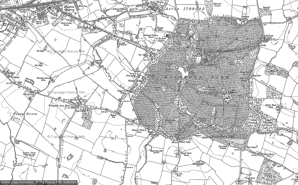 Old Map of Historic Map covering Whitefield Lane End in 1891