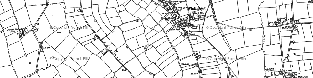 Old map of Winfarthing in 1883