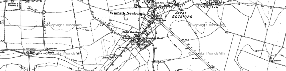 Old map of Winfrith Newburgh in 1886
