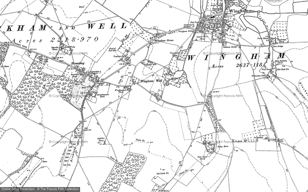 Old Map of Historic Map covering Wingham Green in 1896