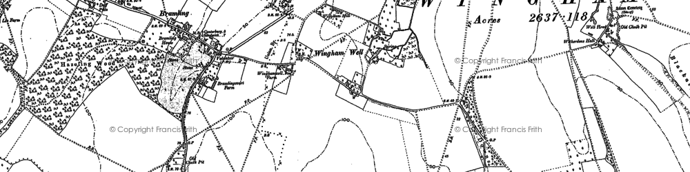 Old map of Wingham Green in 1896