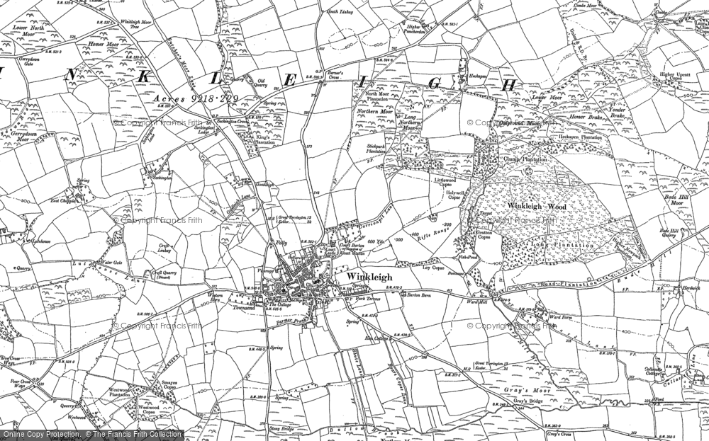 Old Map of Winkleigh, 1886 in 1886