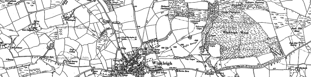 Old map of Winkleigh Wood in 1886