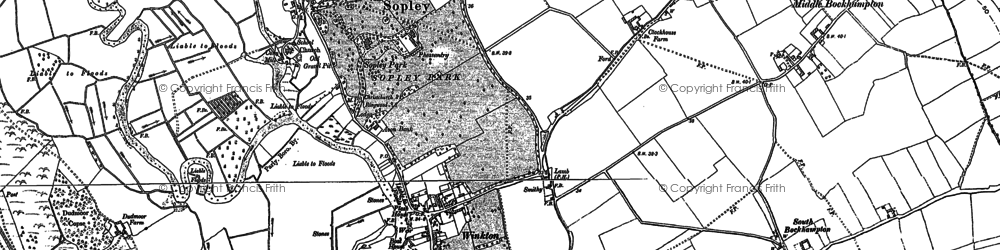 Old map of Winkton in 1907