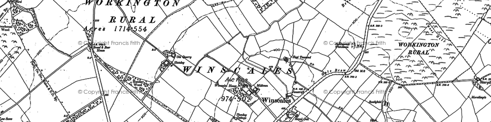 Old map of Wythemoor Head in 1898