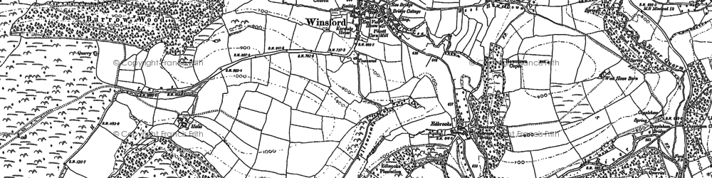 Old map of Winsford Hill in 1888