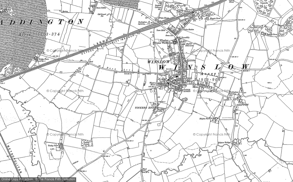 Old Map of Historic Map covering Tinkers End in 1898