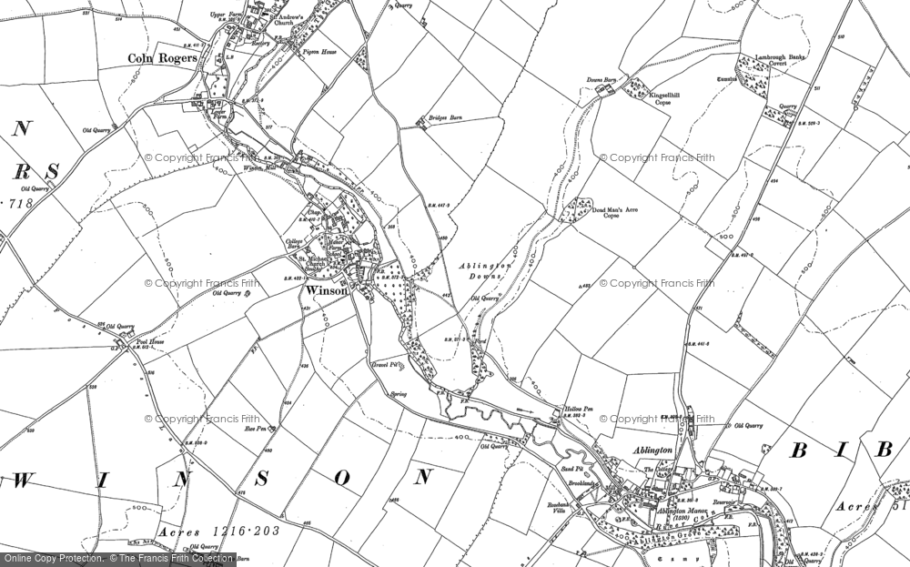 Old Map of Historic Map covering Ablington Downs in 1882