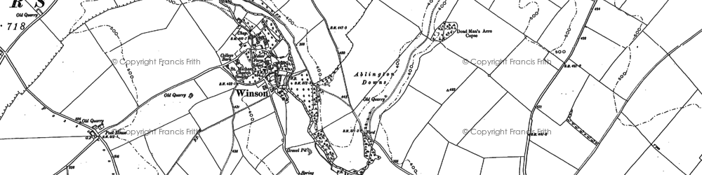 Old map of Ablington Downs in 1882