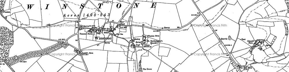 Old map of Winstone in 1882