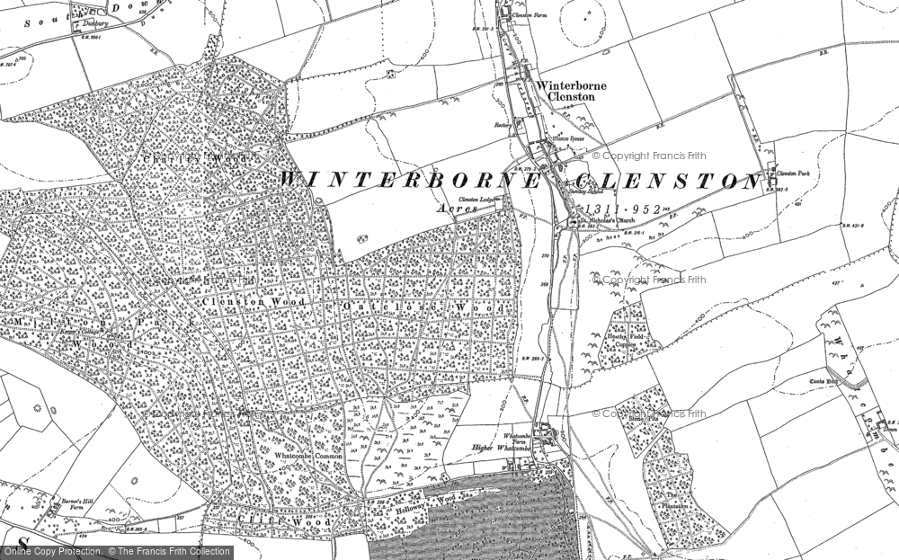 Old Map of Historic Map covering Whatcombe Wood in 1887