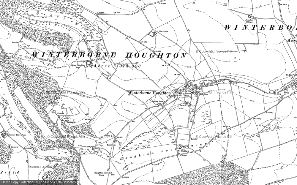 Old Map of Winterborne Houghton, 1887 in 1887