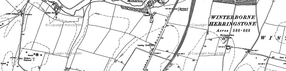 Old map of Winterborne Herringston in 1886