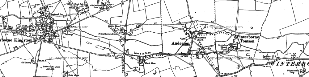 Old map of Winterborne Muston in 1887