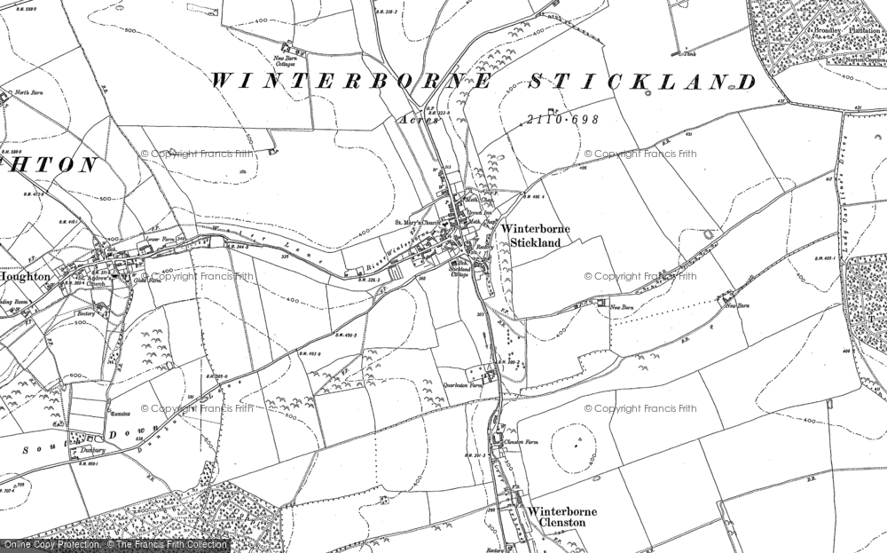 Old Map of Winterborne Stickland, 1887 in 1887