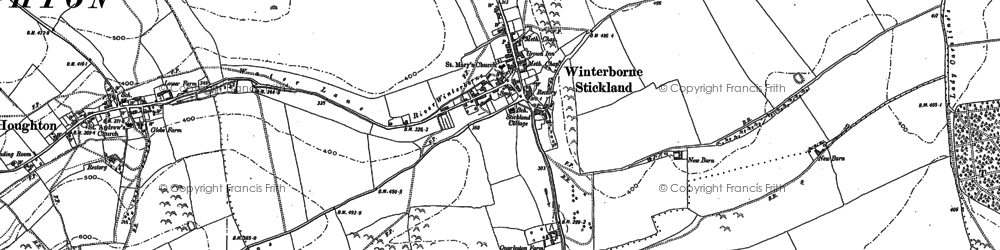 Old map of Winterborne Stickland in 1887