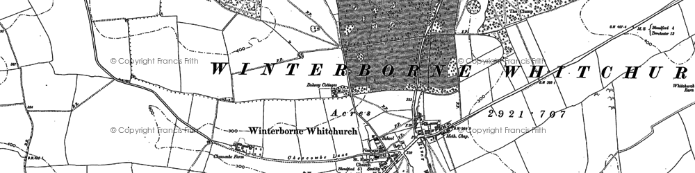 Old map of Winterborne Whitechurch in 1887