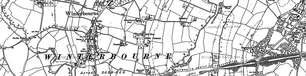 Old map of Winterbourne in 1880
