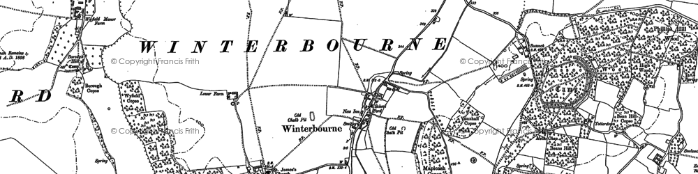 Old map of Winterbourne in 1898