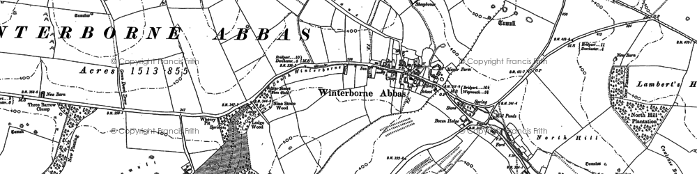 Old map of Winterbourne Abbas in 1886