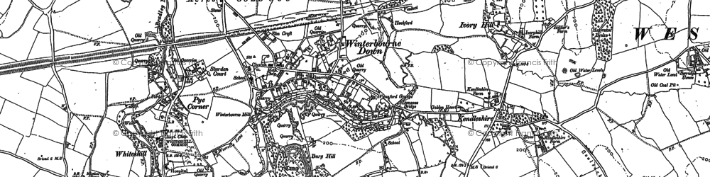 Old map of Winterbourne Down in 1880